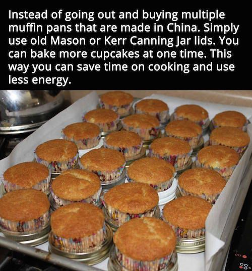 How to make muffins with mason jar lids instead of a muffin pan. Worth a try! Click the picture for this recipe for banana muffins and full directions on how this is done.