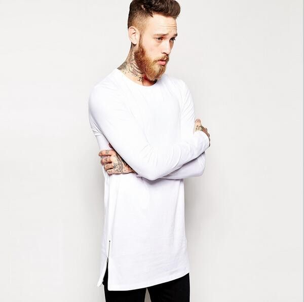 2017 Brand New extra long tee shirts for men hip hop men's longline t shirts