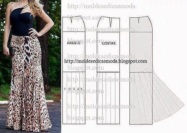 59300e20b patrones para hacer faldas largas Ideas de Manualidades | Costuras ...