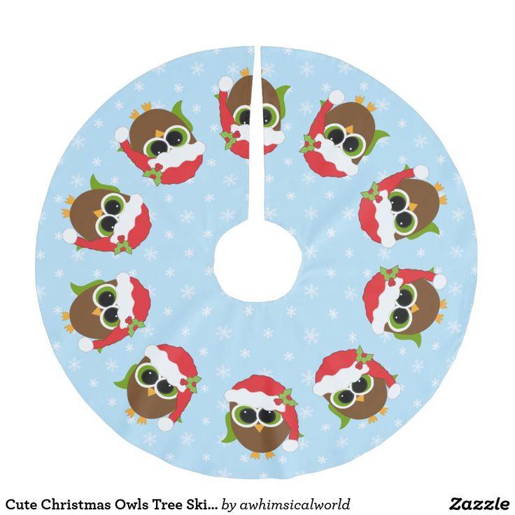 Cute Christmas Owls Tree Skirt