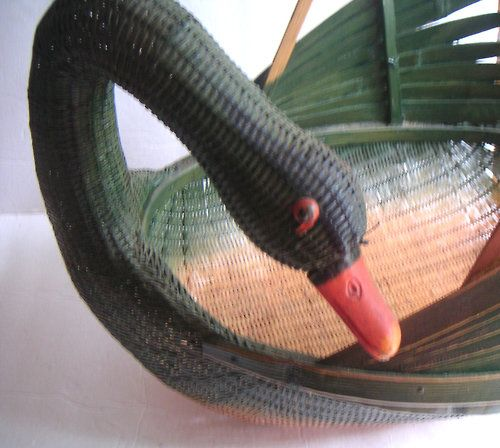 Vintage Swan Basket,Storage,Thanksgiving,Cottage Chic,Spring,Mothers Day - QVintage