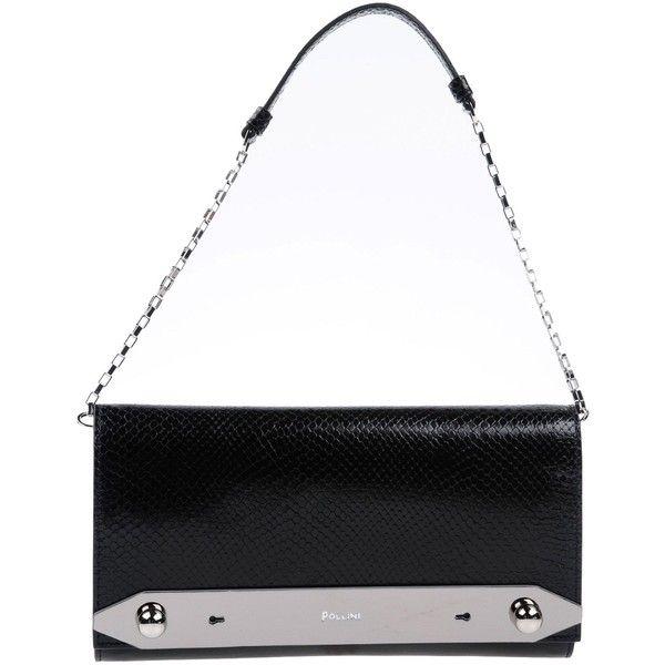 Pollini Handbag ($270) ❤ liked on Polyvore featuring bags, handbags, clutches, black, animal print purses, snake print purse, snake print handbags, metallic leather handbags and leather man bags