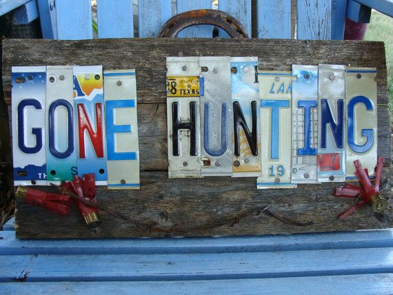 Gone Hunting License Plate Hand Painted Wood Fence Panel by dables, $45.00