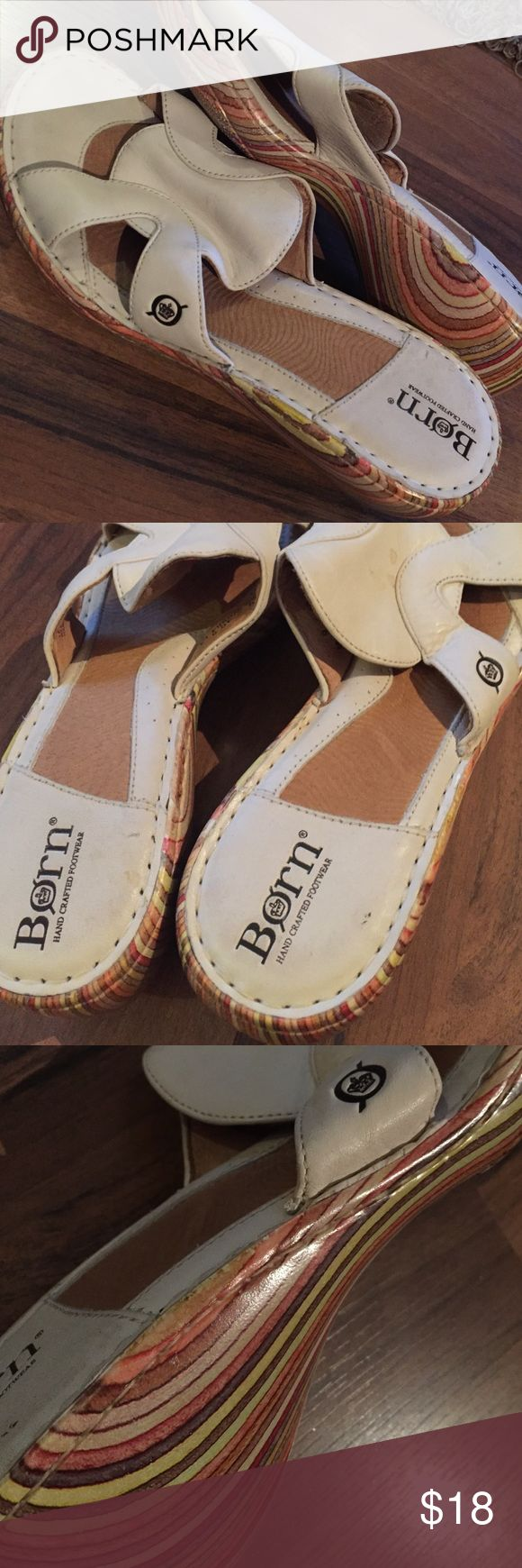 Born leather wedges Good condition great support ivory leather wedges Born Shoes Wedges