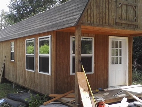 12X32 storage building converted to 1 bedroom home.: Building Ideas, Tiny House, Cabin Ideas, Cabins Cottages Tiny Small, House Ideas, Cabiny Bathrooms, Dog Houses, Children, Bedroom