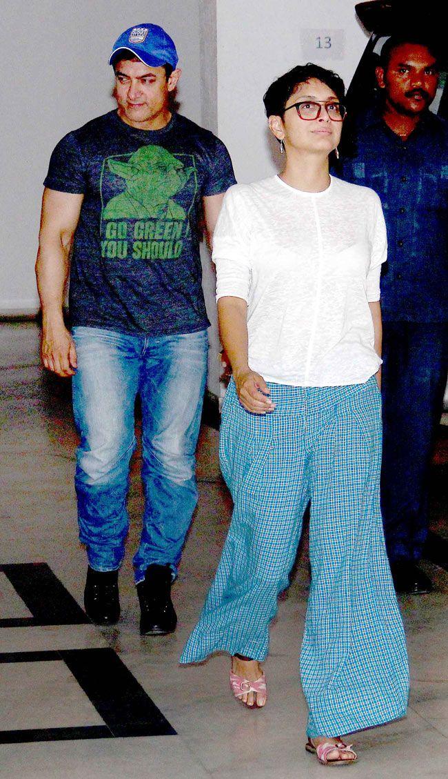 Aamir Khan and wife Kiran Rao spotted outside Karan Johar's home. #Bollywood #Fashion #Style #Beauty #Handsome