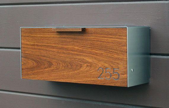 Modern Mailbox,  Teak and Stainless Steel Mailbox