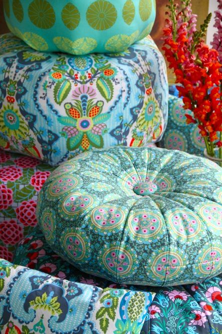 Amy Butler's Cameo Fabrics with Honeybun and Gumdrop Pillows