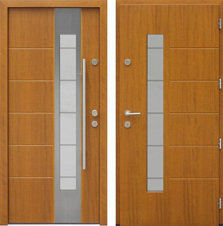 Drzwi wejściowe z aplikacjamii ze stali nierdzewnej inox wzór 471,1-471,11+ds11 złoty dąb