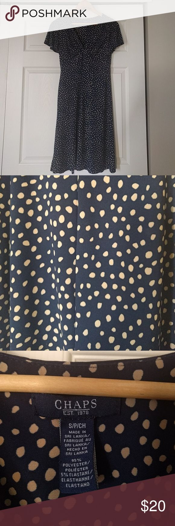 "Chaps Navy and Camel Polka Dot Fitted Tea Dress SP Gorgeous navy blue and camel polka dot dress.  Fitted and very flattering.  Chaps.  Size Petite Small.  Hits just below my knee and im 5' 2""  Excellent used condition.  Smoke free home  🚫 Modelling photos as selling because item doesn't suit me. Chaps Dresses Midi"