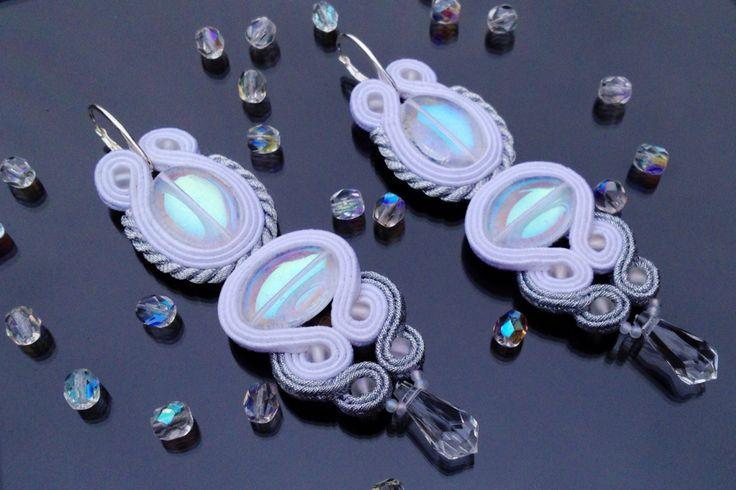White soutache earring