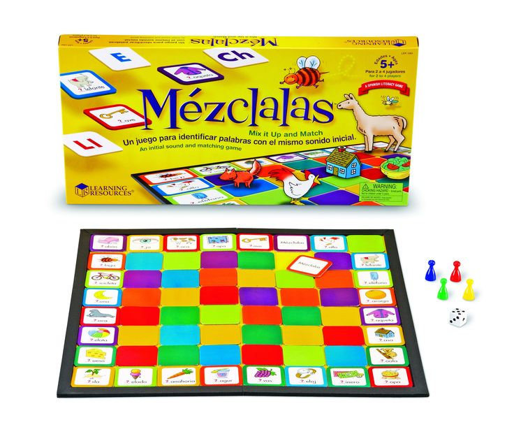 ¡Mézclalas! (Mix it Up!) Game > Children learn to recognize letters and sounds at the beginning of simple Spanish words with this fun game for native Spanish-speaking children. Great for homeschoolers or tutors.