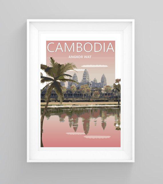 Vintage reizen poster handgemaakt uit een foto genomen door mij op de prachtige tempels van Angkor Wat, Cambodia. Perfect voor het brengen van sommige reizen inspiratie of vakantie herinneringen aan elke kamer.  Mogelijkheid voor het aanpassen van de tekst zonder extra kosten - familie namen, vakantie of bestemming bruiloft data enz. Zie mijn aangepaste lijst te maken die een vergelijkbaar afdrukken vanuit uw eigen fotos!  Gelieve zetten in de toelichting op de kassa (of ons message) met…