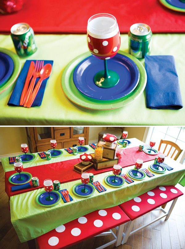 So many cute DIY ideas in this Super Mario Brothers party (love the kids' tablescape)