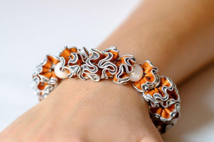 """Armband """"Harlekin"""" aus Nespresso-Kapseln von Lilie Schmuckdesign auf DaWanda.com"""