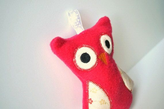Stuffed Owl Toy  Baby Owl Toy  Red Owl Rattle  by BirdieAndDot, $12.00