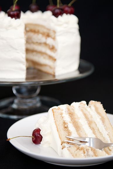"""This is recipe for """"White Russian Cake with Whipped Cream Frosting"""" from userealbutter"""