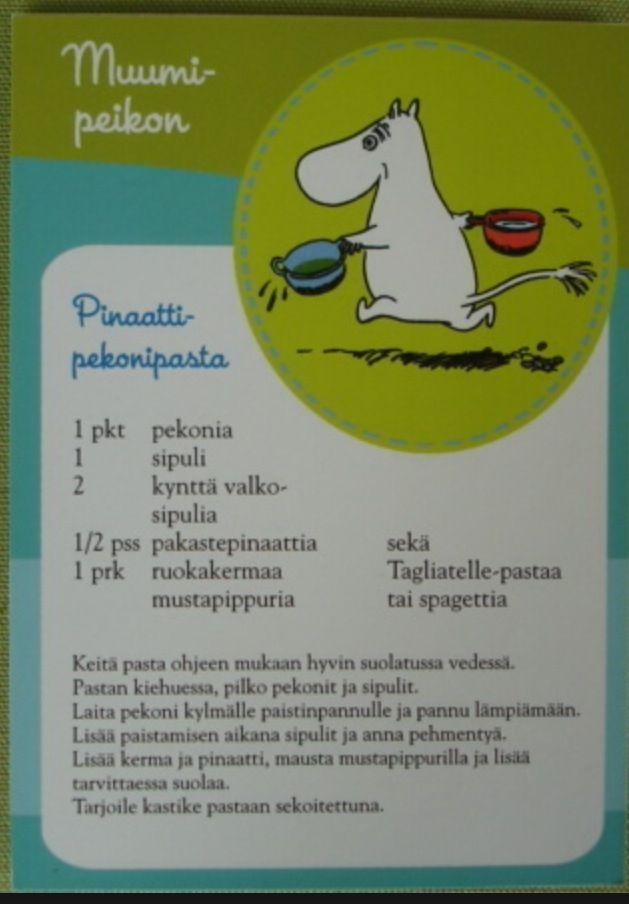 Muumipeikon Pinaatti-pekonipasta