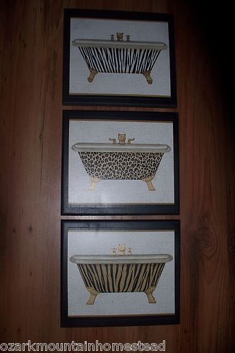 3pc Leopard Tiger Cat Print Bathtub Wall Decor Plaques Bath Pictures  Bathroom | EBay