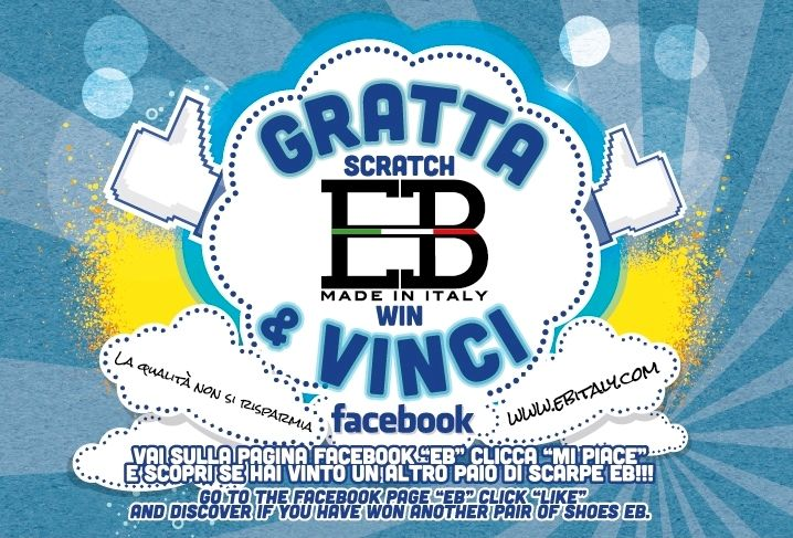 """It 'started the new competition """"SCRATCH AND WIN"""" !! In all the shoe boxes EB will find a ticket """"Scratch and Win"""".  To test the code go to """"EBSHOES fan page"""", click """"Like"""" and check the code. The winners will receive the shoes in homage EB SHOES The winning code will be released from August #2013!"""