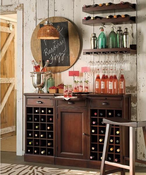 Minimalist Home Bar Ideas with Wooden Wine Rack and Chair