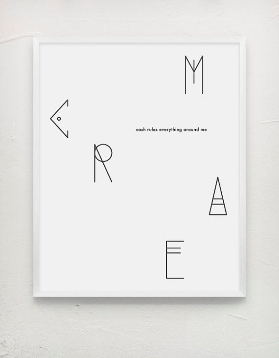 Typography poster, C.R.E.A.M. Black and white
