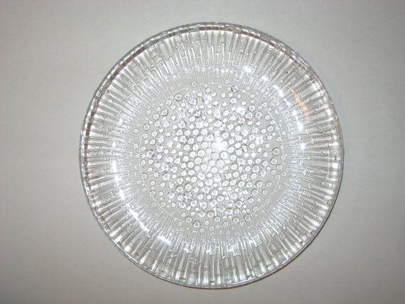 "Iittala Finland ULTIMA THULE Tapio Wirkkala 7.5"" Glass Salad Plates - Rare Set of 3"