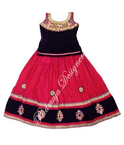 Raw silk langa with velvet border with work & lays velvet blouse with bottam neck with havi work.for 3 years baby Rs.5700/- #parikini