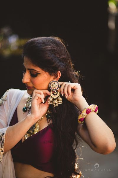 jhumki earrings , meenakari earrings , circular earrings , gold earrings, large gold and ruby kada