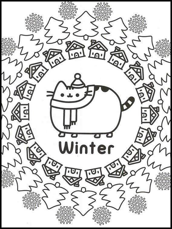 Pusheen 86 Printable Coloring Pages For Kids Pusheen Coloring Pages Cat Coloring Page Christmas Coloring Pages