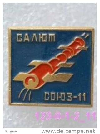 SPACE: docking space station Salyut-1 and spaceships Soyuz-11 / old soviet badge USSR_123_sp3817 - Delcampe.com
