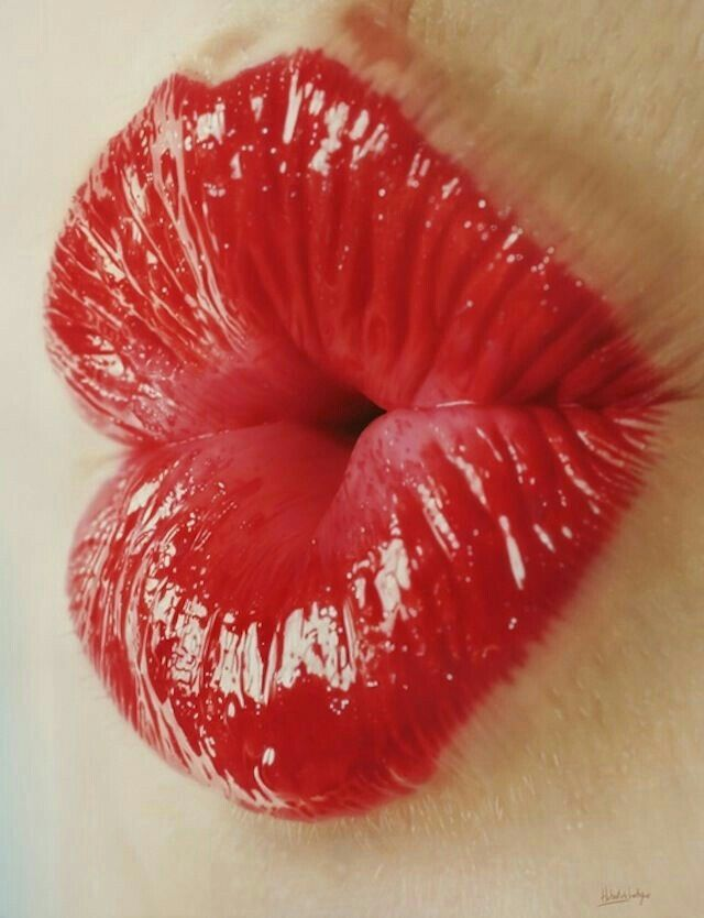 Perfect Red Heart Shaped Pout Hyper Realistic Paintings