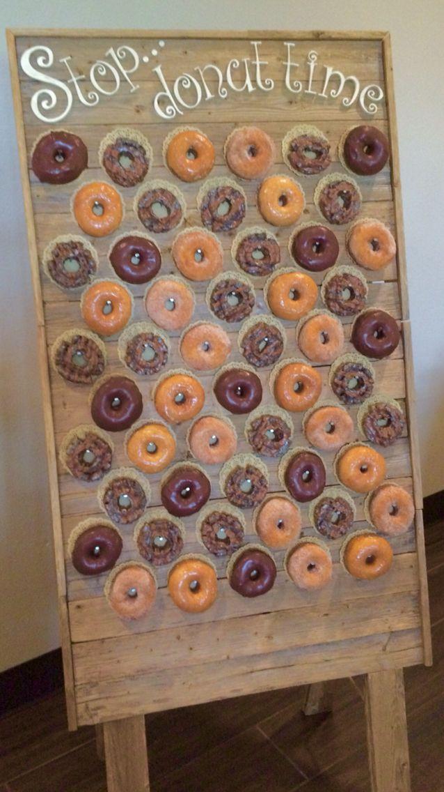 Donut wall at #mrandmrsbiggiesmalls wedding.