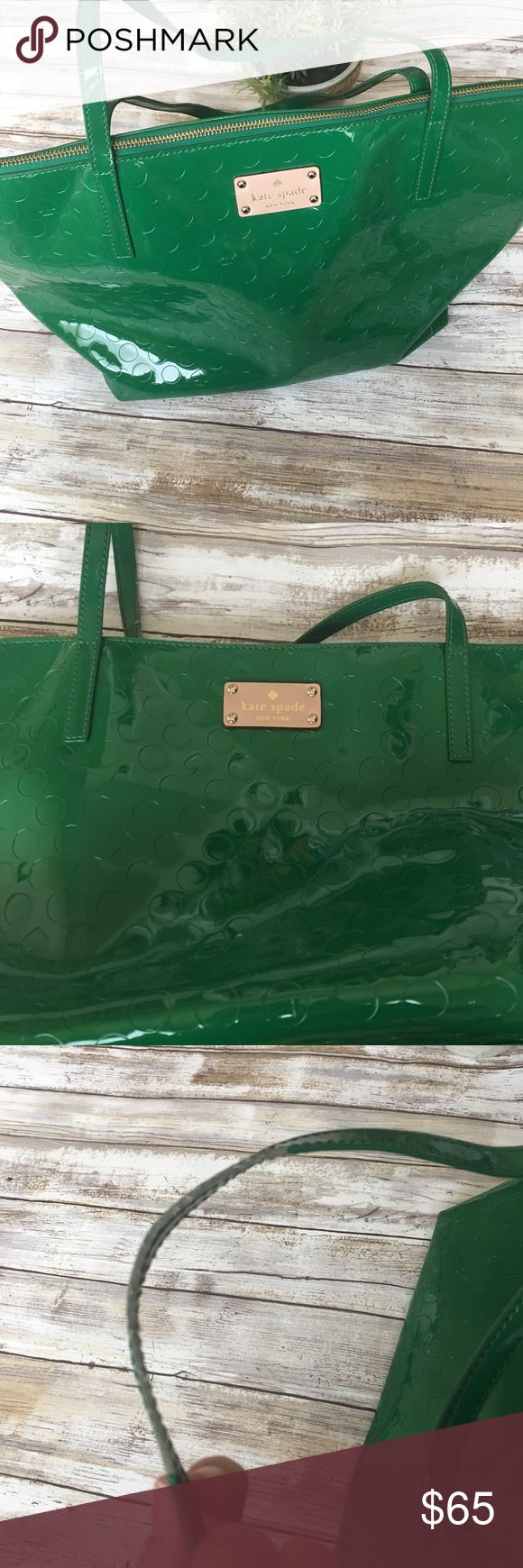Kate Spade Green Polka Dot Tote Bag 100% Authentic! 💯 Super cute green tote bag from Kate Spade! Has a polka dot and Spade print. Inside has one zip pocket and two slip pockets. Perfect bag to carry your essentials for school or work. Bag is in overall excellent condition besides the top handles. They are peeling on the sides and are showing some of the threading. Price reflected on condition. kate spade Bags Totes