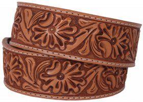 Mens - Hand-Tooled - Double J Saddlery Belt - B731-Natural Floral Tooled Belt