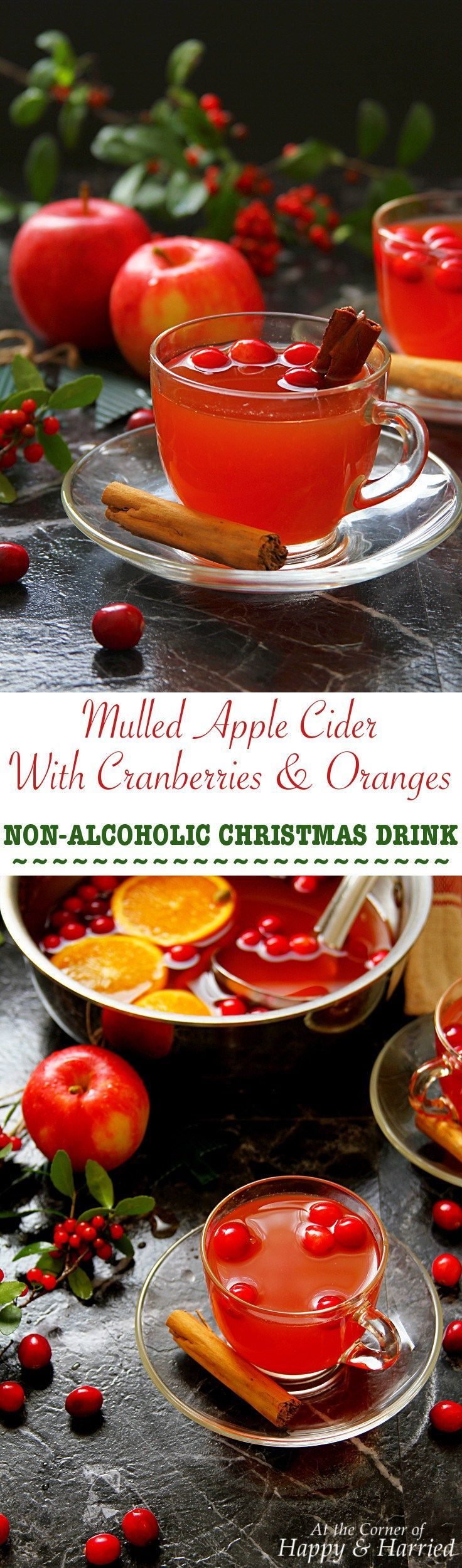 Mulled Apple Cider With Cranberries & Oranges: Non-Alcoholic Christmas Drink. #happyandharried