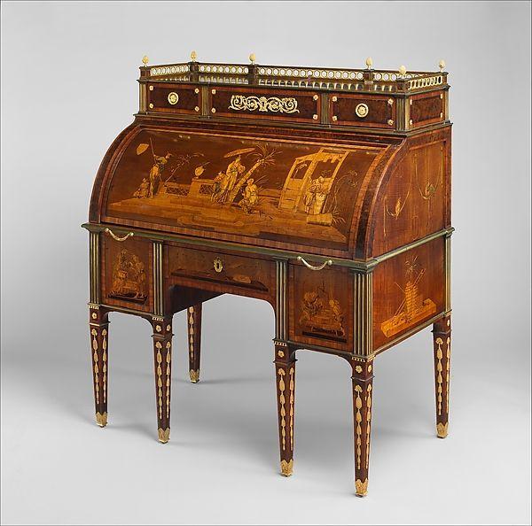 Rolltop desk by David Roentgen (German, Herrnhag 1743–1807 Wiesbaden, master 1780). Chinoiserie scenes possibly after designs by Januarius Zick (German, Munich before 1730–1797 Ehrenbreitstein) Circa 1776–79
