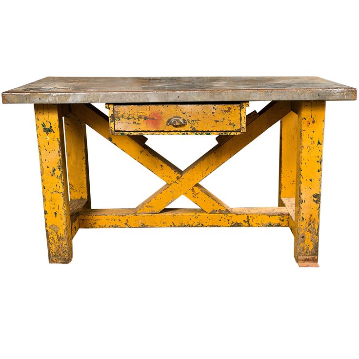 Vintage American Zinc Top Factory Work Table, C. 1920-40 | From a unique collection of antique and modern industrial and work tables at http://www.1stdibs.com/furniture/tables/industrial-work-tables/