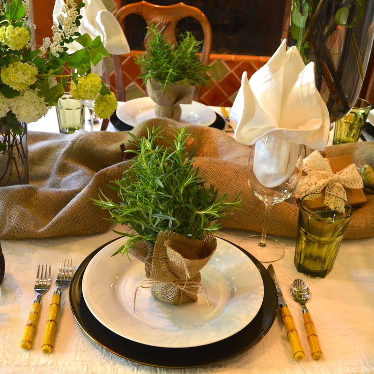 rosemary plants as dinner party favors