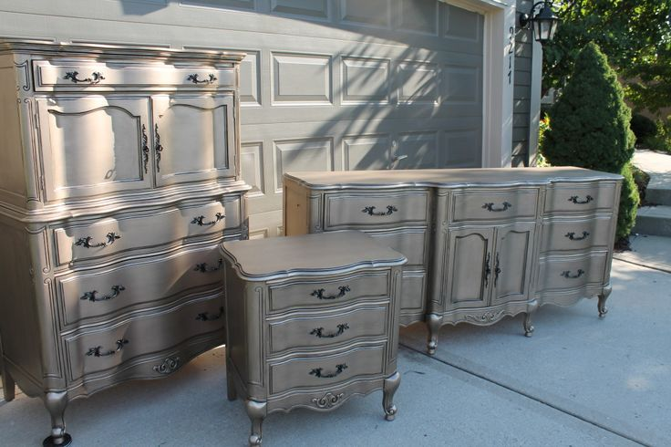 Warm silver metallic dresser color