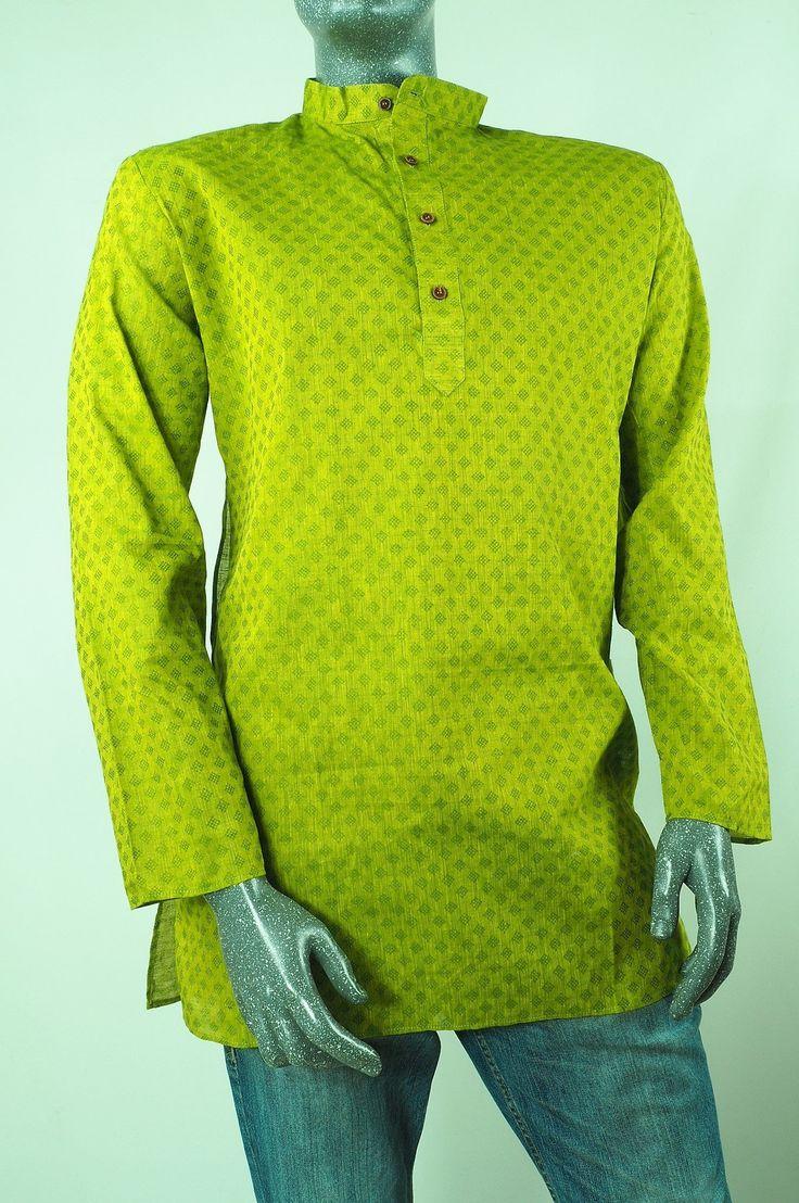Adhikari - Lime Green Kurta top - Mens Indian shirt - Ideal on a pair of jeans C0417