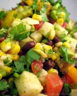 Chopped Mexican Salad with Grilled Corno di Toro Peppers, Bicolored Corn, Heirloom Tomatoes, Jicama, Avocado and Black Beans