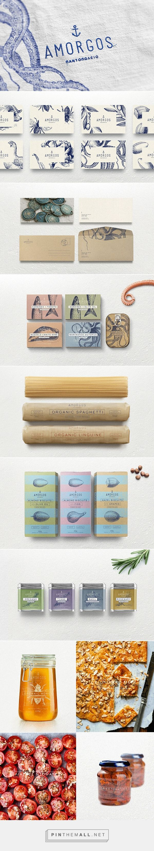 Amorgos identity packaging branding on Behance via Pier / Design Agency curated by Packaging Diva PD. Nouvelle identité pour une épicerie fine grecque. New identity for fine groceries (I think)