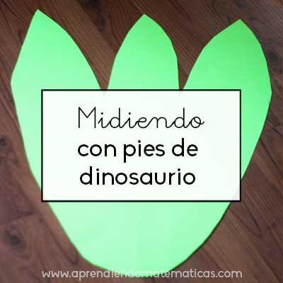 Las medidas en infantil se trabajan midiendo :-). Hoy medios com pies de dinosaurios.