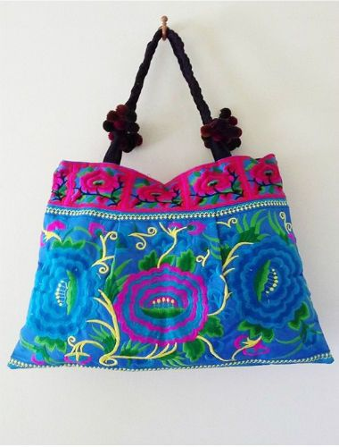 LARGE THAI SILK EMBROIDERED BRIGHT BLUE/MULTI COLOURED TOTE SHOULDER BAG