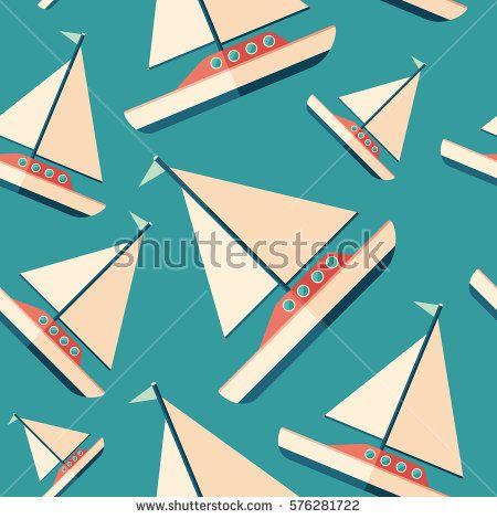 Sailing yacht flat icon seamless pattern. #transportpattern #summerpatterns #vectorpattern #patterndesign #seamlesspattern