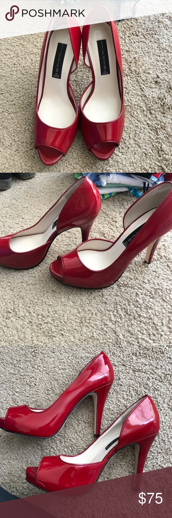 Steve Madden patent leather heels Selling for my mom. NWOT and never worn Steve Madden red patent leather pumps. She takes great care of her shoes, so no visible scuff marks that I can see. Bottom of shoe has mark, but it's from trying on in the store . Bottom of shoe is genuine leather. Heel is around 4in (give or take). Steve Madden Shoes Heels