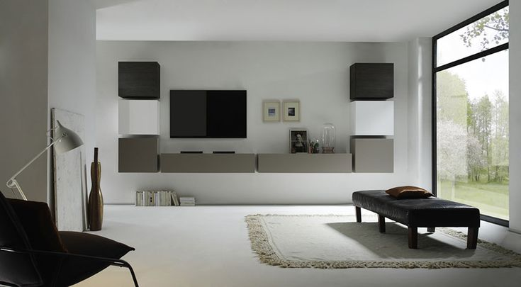 Ensemble TV mural contemporain laqué blanc et gris mat + wengé TOULON, Ensemble meuble TV mural