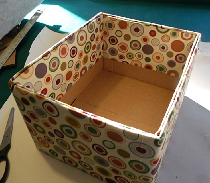 Fabric covered boxes. I also lined mine with computer paper to give them a polished look