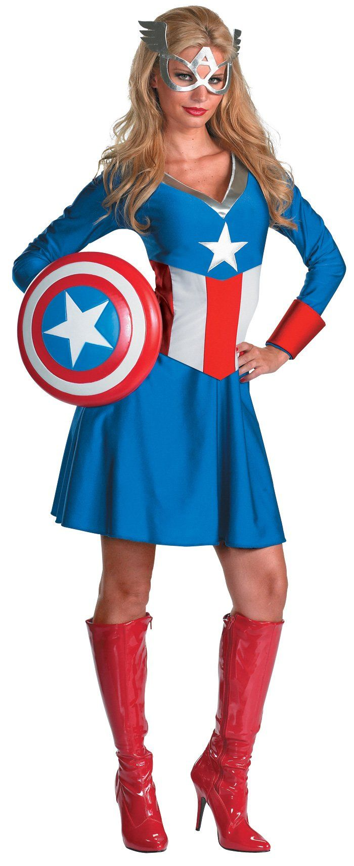 Miss Captain America. It doesn't include the boots. I wonder how much those would cost.
